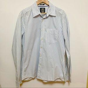 L.O.G.G. H&M White & Blue Striped Button-Down